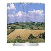 High Angle View Of Patchwork Fields Shower Curtain