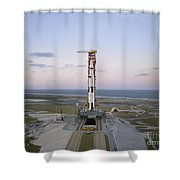 High-angle View Of The Apollo 8 Shower Curtain