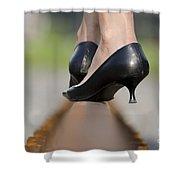 High Heels On Railroad Tracks Shower Curtain