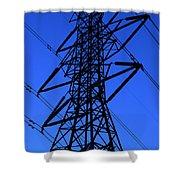 High Voltage Power Line Silhouette Shower Curtain