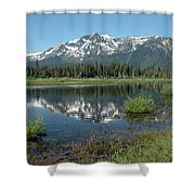 High Water Mt Tallac Reflections Shower Curtain
