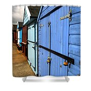 Highcliffe Beach Huts Shower Curtain