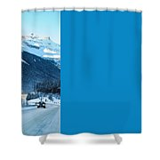 Highway In Winter Through Mountains Shower Curtain