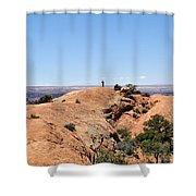 Hiker At Edge Of Upheaval Dome - Canyonlands Shower Curtain
