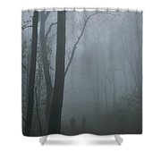 Hikers Enjoy A Foggy Outing On A Trail Shower Curtain