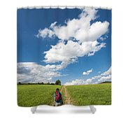 Hiking In The Summer Shower Curtain