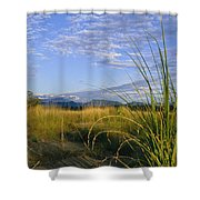 Hills Loom In The Distance Shower Curtain