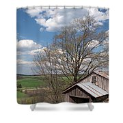 Hillside Weathered Barn Dramatic Spring Sky Shower Curtain