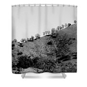 Hilltop In A Row - Black And White Shower Curtain