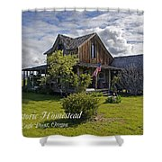 Historic 1870 Marvin Wood House With Text Shower Curtain