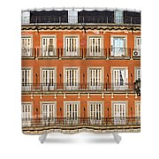 Historic Facade At Plaza Mayor In Madrid Shower Curtain