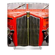 Historic Red Jammer Bus Glacier National Park Shower Curtain