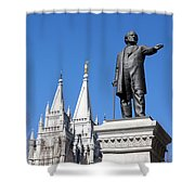 Historic Salt Lake Mormon Lds Temple And Brigham Young Shower Curtain
