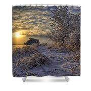 Hoar Frost Covered Trees At Sunrise Shower Curtain