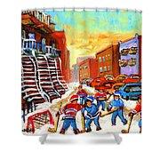 Hockey Art Kids Playing Street Hockey Montreal City Scene Shower Curtain