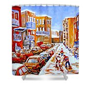 Hockey Art Streets Of Montreal Hockey Paintings Shower Curtain