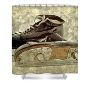Hockey Boots Shower Curtain by Dariusz Gudowicz