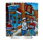 Hockey Game Corner Clark And Fairmount Wilenskys Paintings Shower Curtain by Carole Spandau