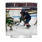 Hockey One On Four Shower Curtain