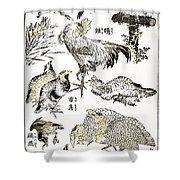 Hokusai: Birds Shower Curtain