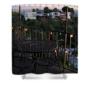 Holiday Deck At Dusk Shower Curtain