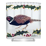 Holiday Pheasant Card Shower Curtain
