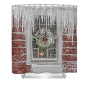 Holiday Wreath In Window With Icicles During Blizzard Of 2005 On Shower Curtain by Matt Suess