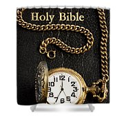 Holy Bible Pocket Watch 1 Shower Curtain