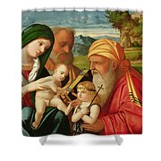 Holy Family With St. Simeon And John The Baptist Shower Curtain by Francesco Rizzi da Santacroce