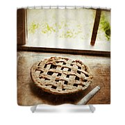 Home Made Pie Cooling By Open Window Shower Curtain