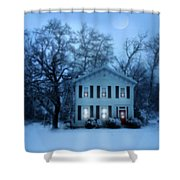 Home On A Wintery Evening Shower Curtain