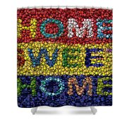 Home Sweet Home Bottle Cap Mosaic  Shower Curtain by Paul Van Scott