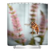 Honey Bee In Flight Shower Curtain