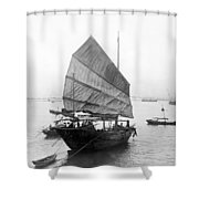 Hong Kong Harbor - Chinese Junk Boat - C 1907 Shower Curtain