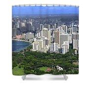 Honolulu Hawaii And Waikiki Beach Shower Curtain