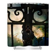 Hooded Figure By A Fire Shower Curtain
