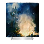 Hooded Figure In A Mask By A Fire Shower Curtain