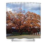 Horse Barn Hill In Autumn Shower Curtain