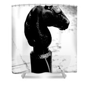 Horse Head Pole Hitching Post French Quarter New Orleans Black And White Conte Crayon Digital Art Shower Curtain