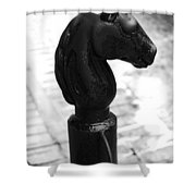 Horse Head Pole Hitching Post French Quarter New Orleans Black And White Diffuse Glow Digital Art Shower Curtain
