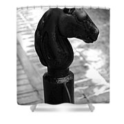 Horse Head Pole Hitching Post French Quarter New Orleans Black And White Shower Curtain