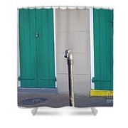 Horse Head Post With Green Doors Shower Curtain