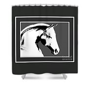 Horse In Black And White Shower Curtain