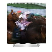 Horse Racing Horses Breaking From The Shower Curtain