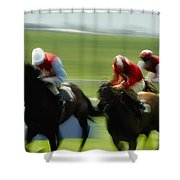 Horse Racing, Ireland Jockeys Racing Shower Curtain