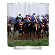 Horse Racing Rear View Of Horses Racing Shower Curtain