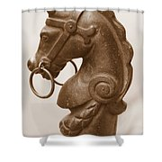 Horse Tether In New Orleans - Sepia Shower Curtain
