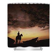 Horseback Rider Silhouetted On A Beach Shower Curtain