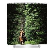 Horseback Riding On An Emerald Lake Shower Curtain