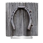Horseshoe Hanging On A Wooden Wall Iron Shower Curtain